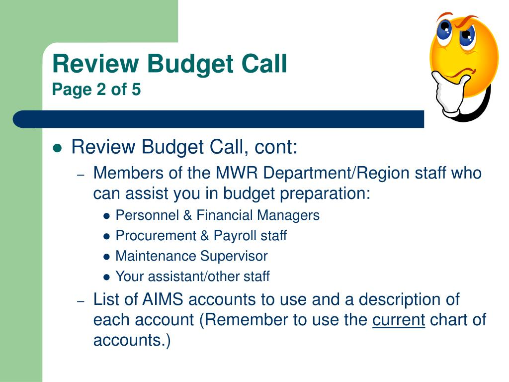 Review Budget Call