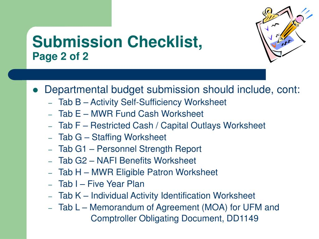 Submission Checklist,