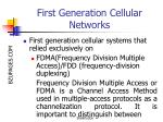 first generation cellular networks
