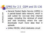 gprs for 2 5 gsm and is 136