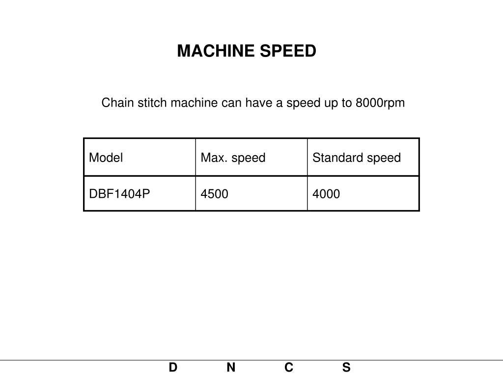 MACHINE SPEED