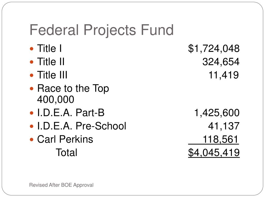 Federal Projects Fund