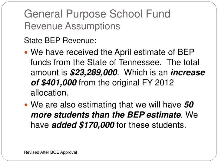 General purpose school fund revenue assumptions