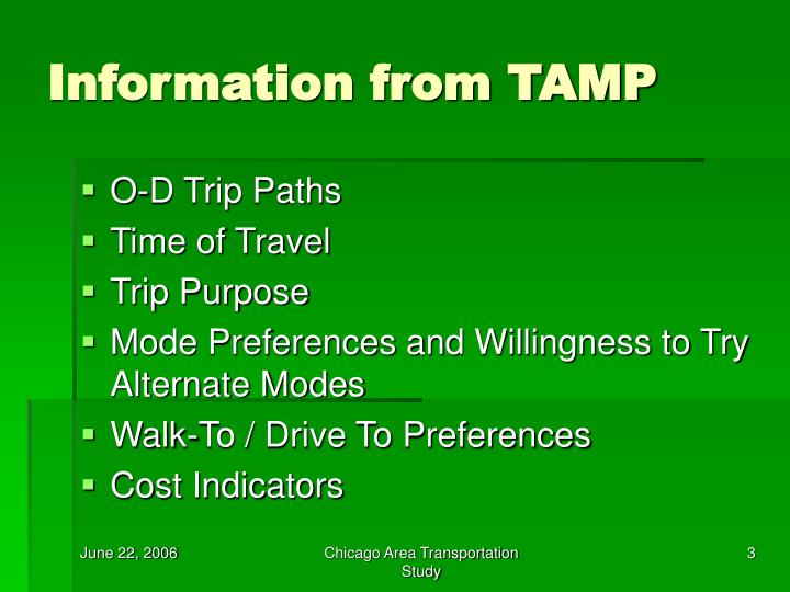 Information from tamp