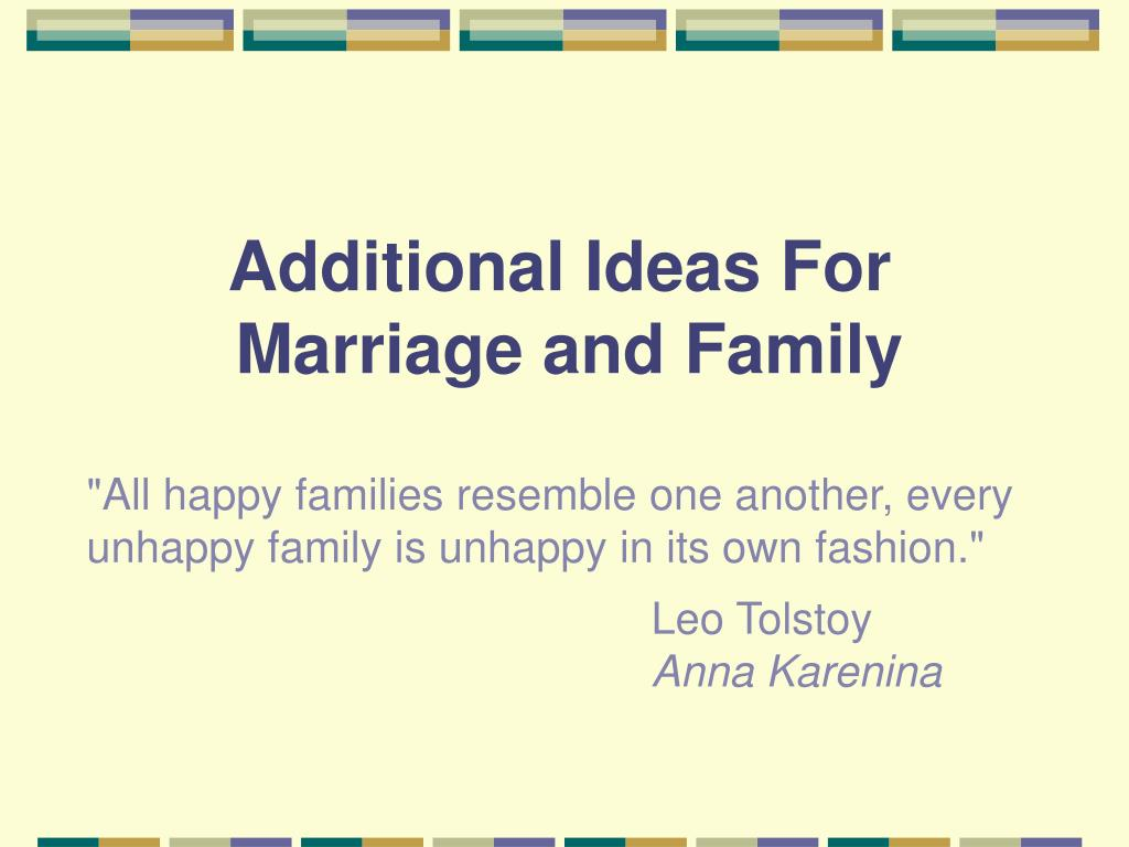 additional ideas for marriage and family l.