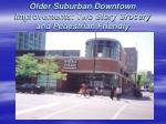 older suburban downtown improvements two story grocery and pedestrian friendly