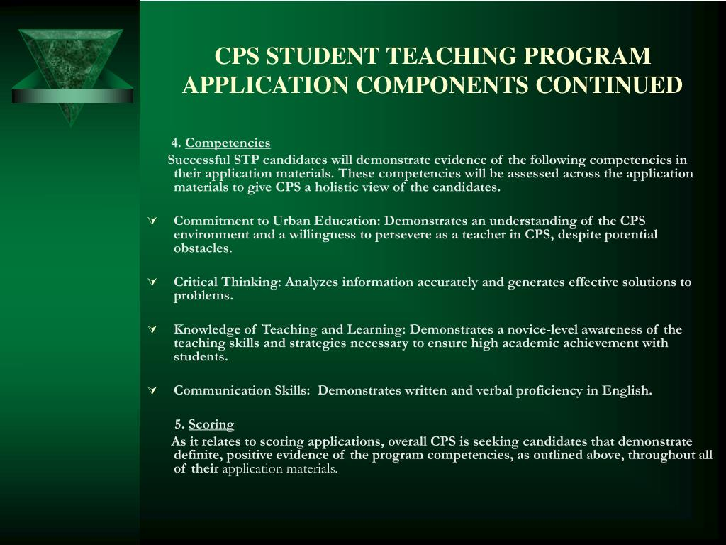CPS STUDENT TEACHING PROGRAM