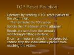 tcp reset reaction
