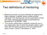 two definitions of mentoring