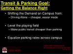 transit parking goal getting the balance right