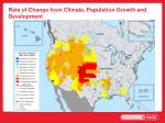 rate of change from climate population growth and development