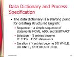 data dictionary and process specification