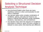 selecting a structured decision analysis technique