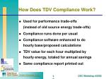 how does tdv compliance work