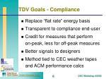 tdv goals compliance