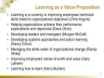 learning as a value proposition