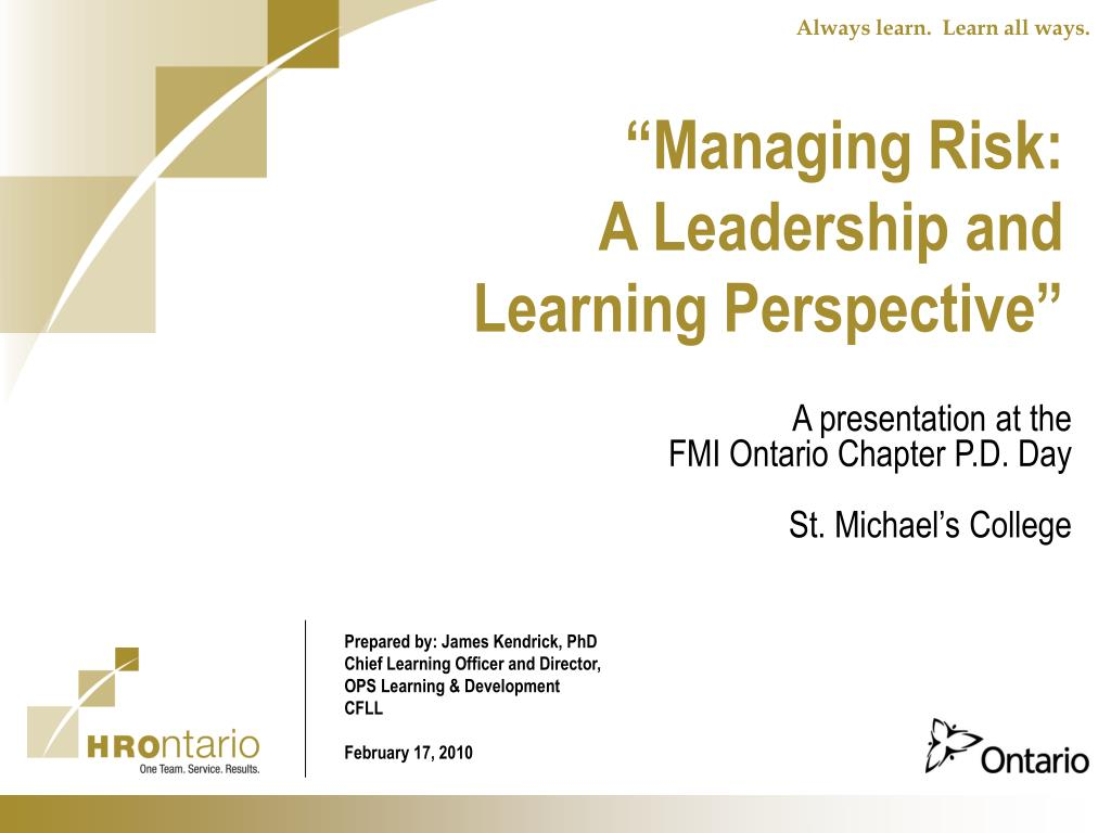 managing risk a leadership and learning perspective l.