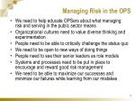 managing risk in the ops
