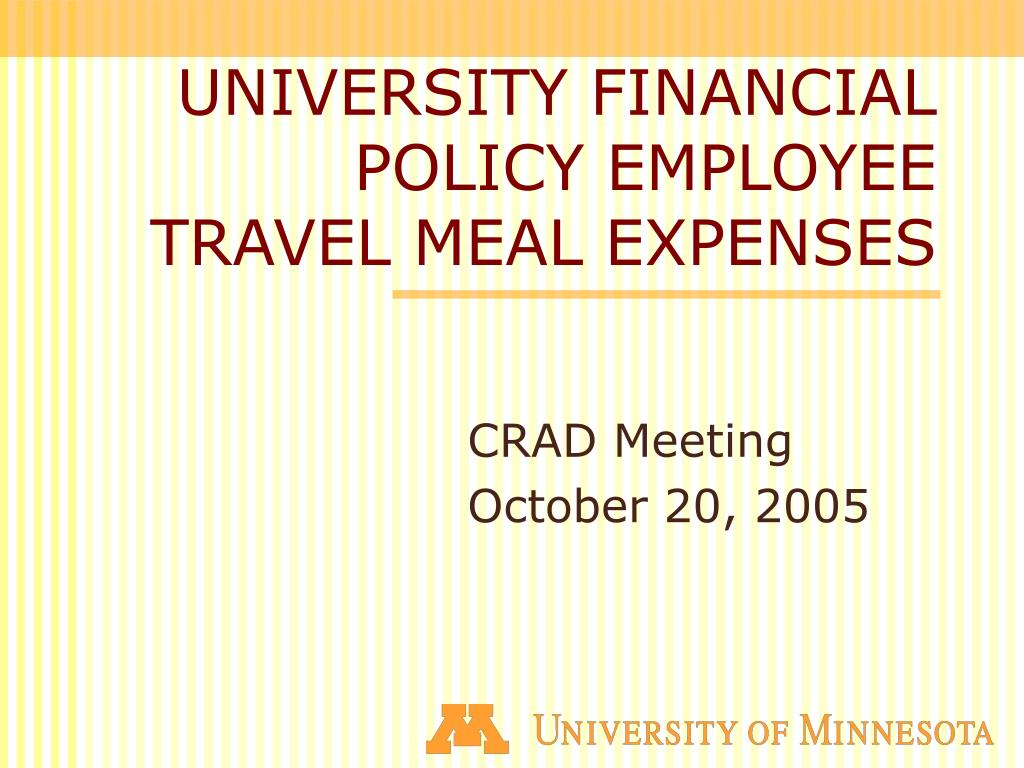 university financial policy employee travel meal expenses l.