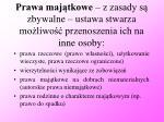 prawa maj tkowe z zasady s zbywalne ustawa stwarza mo liwo przenoszenia ich na inne osoby