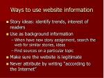ways to use website information