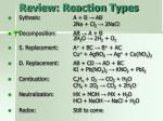 review reaction types