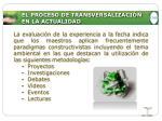 el proceso de transversalizaci n en la actualidad