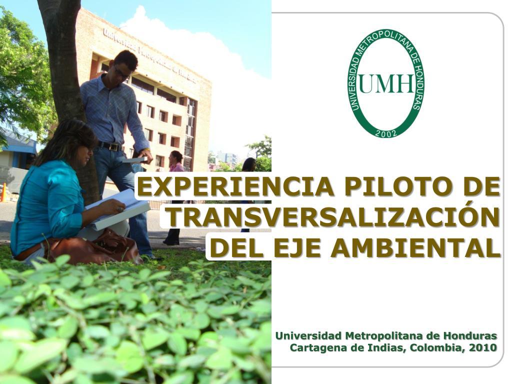 experiencia piloto de transversalizaci n del eje ambiental l.