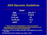 ada glycemic guidelines