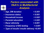 factors associated with hba1c in multifactorial analysis