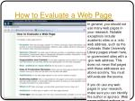how to evaluate a web page
