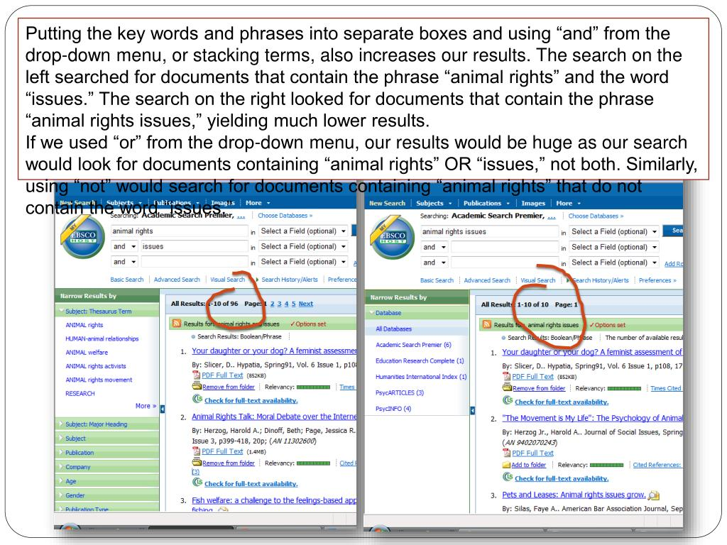 """Putting the key words and phrases into separate boxes and using """"and"""" from the drop-down menu, or"""