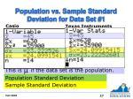 population vs sample standard deviation for data set 1