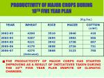 productivity of major crops during 10 th five year plan