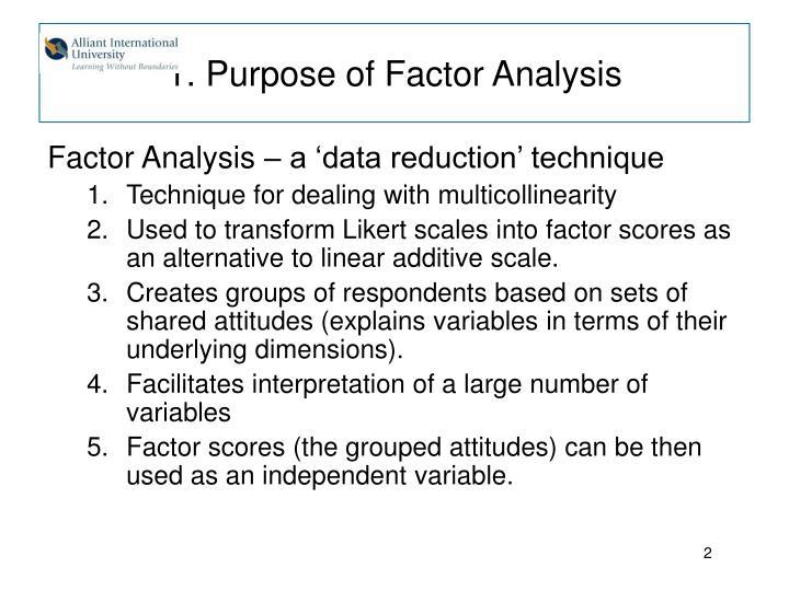 1 purpose of factor analysis