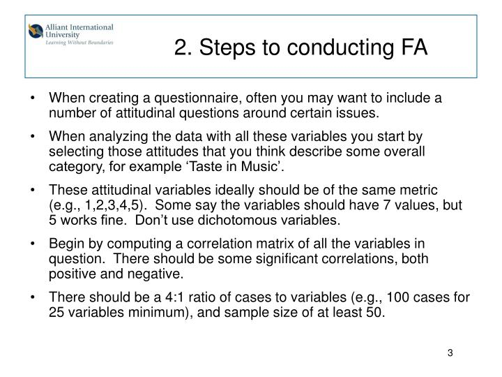 2 steps to conducting fa