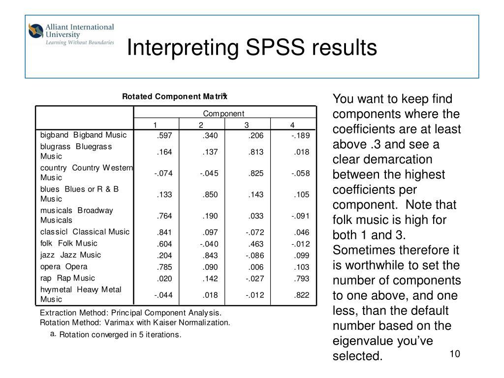 Interpreting SPSS results