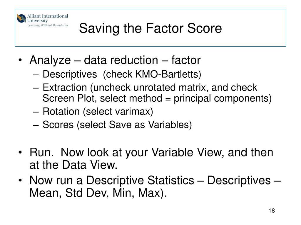 Saving the Factor Score
