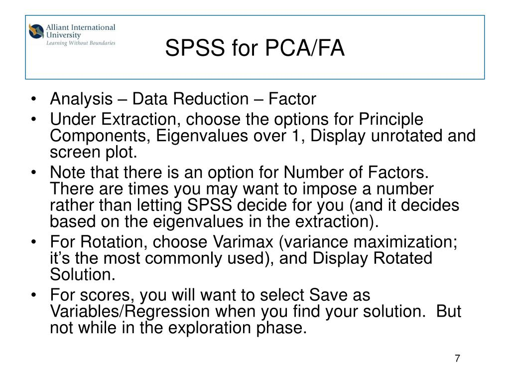 SPSS for PCA/FA