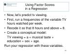 using factor scores in a regression