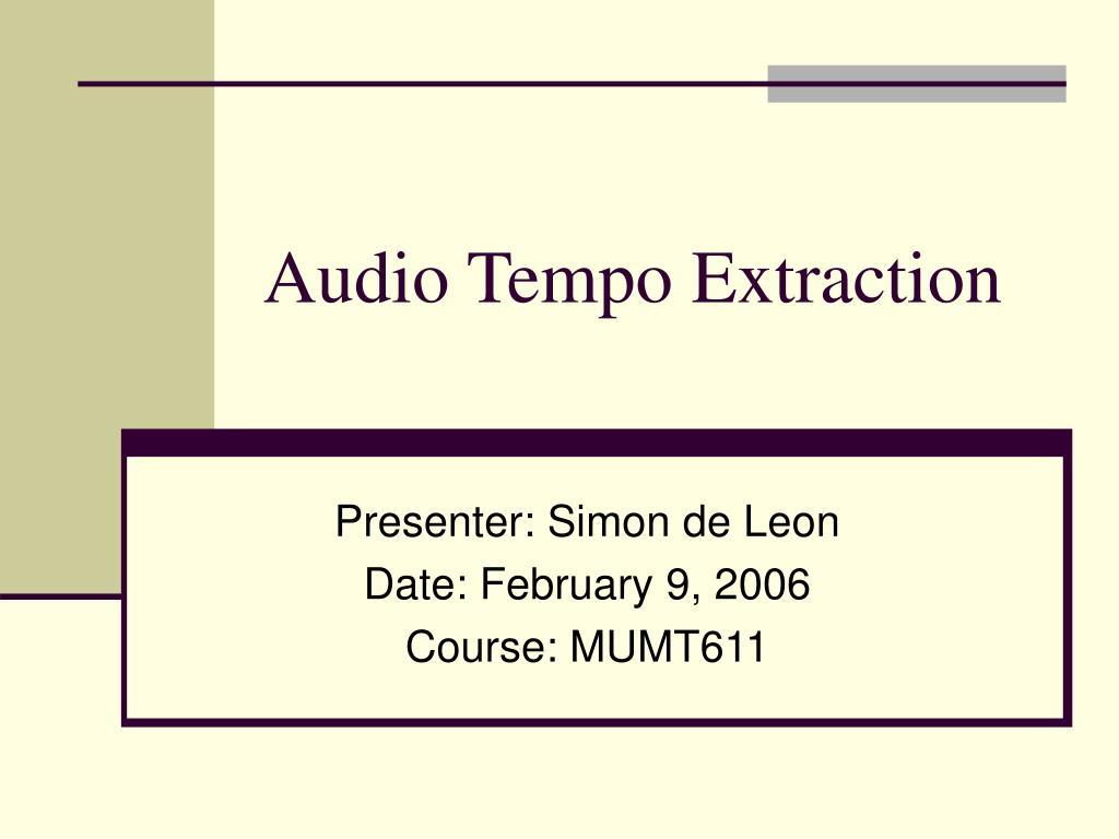 audio tempo extraction l.