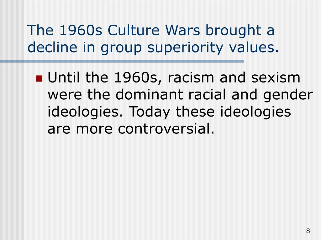 The 1960s Culture Wars brought a decline in group superiority values.