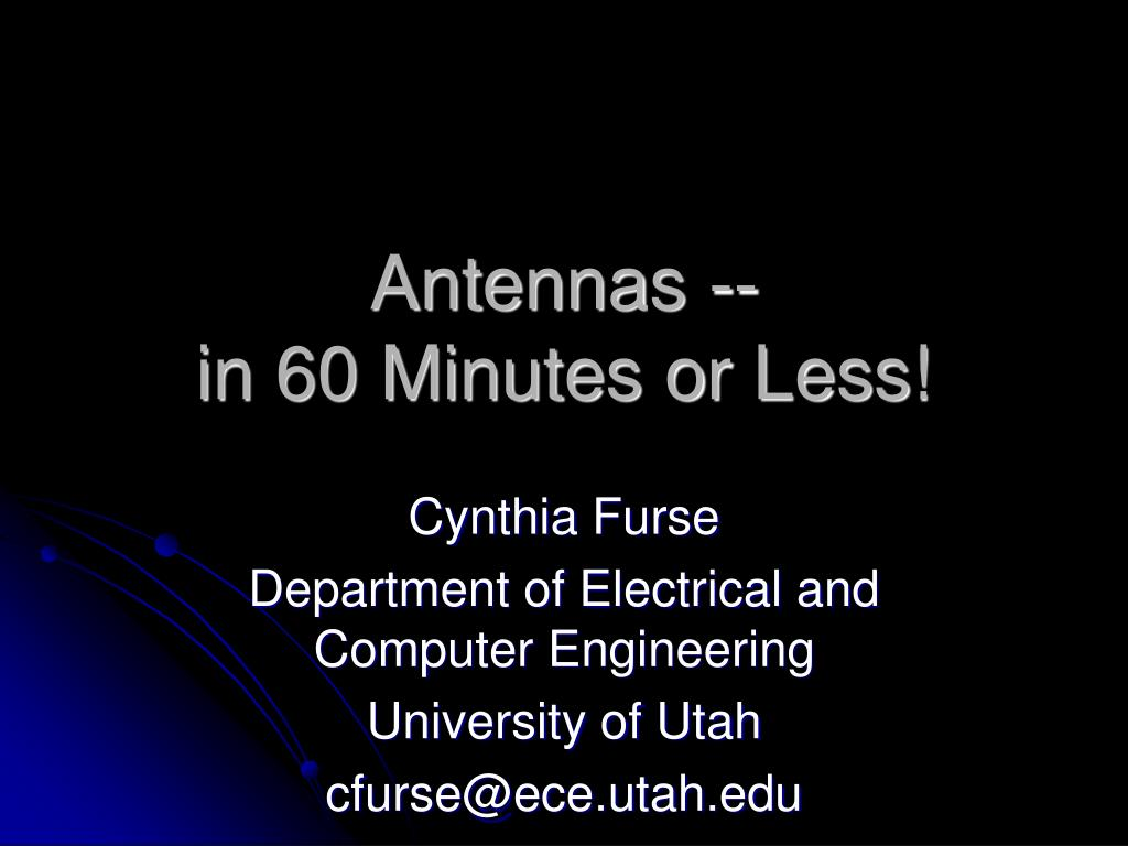 antennas in 60 minutes or less l.