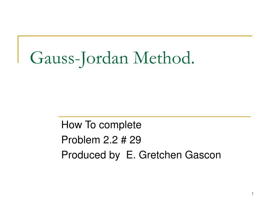 gauss jordan method l.