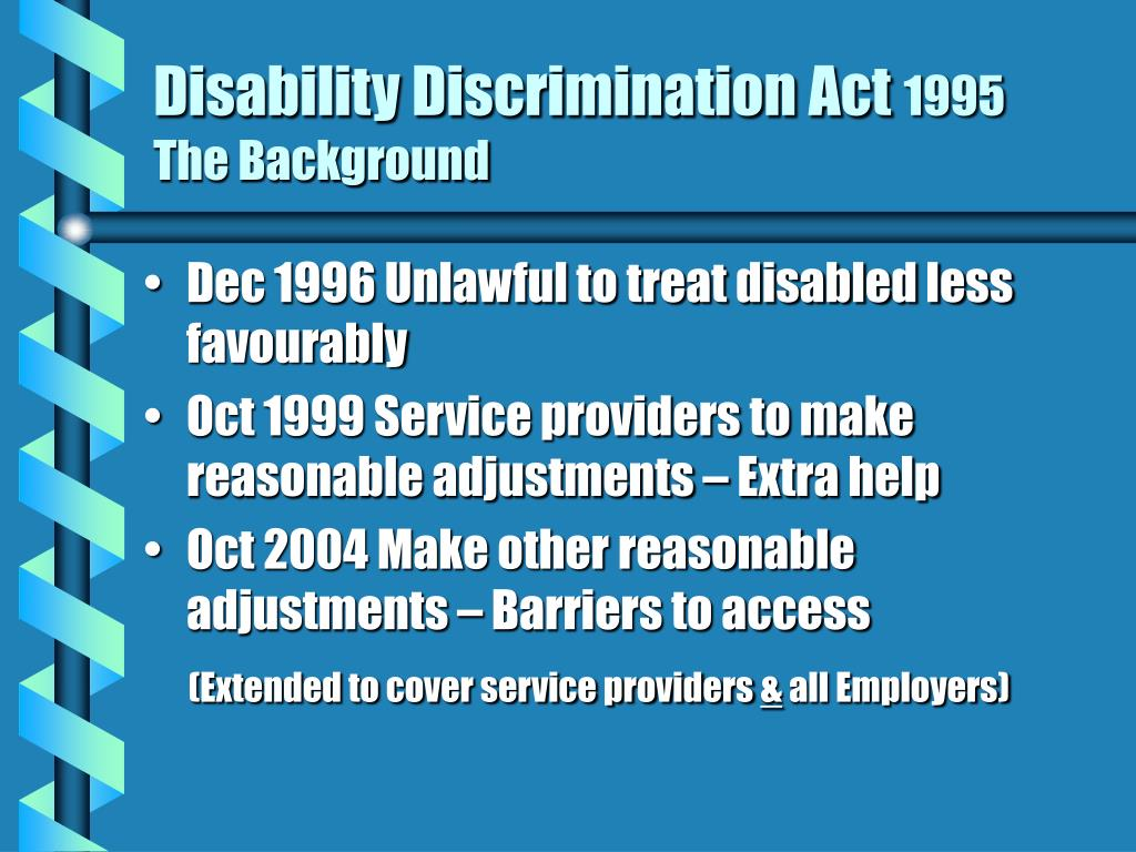 disability discrimination act 1995 the background l.