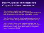 medpac rural recommendations to congress that have been enacted
