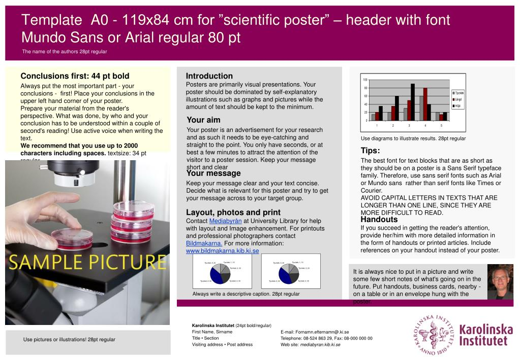 template a0 119x84 cm for scientific poster header with font mundo sans or arial regular 80 pt l.
