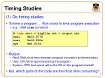 timing studies