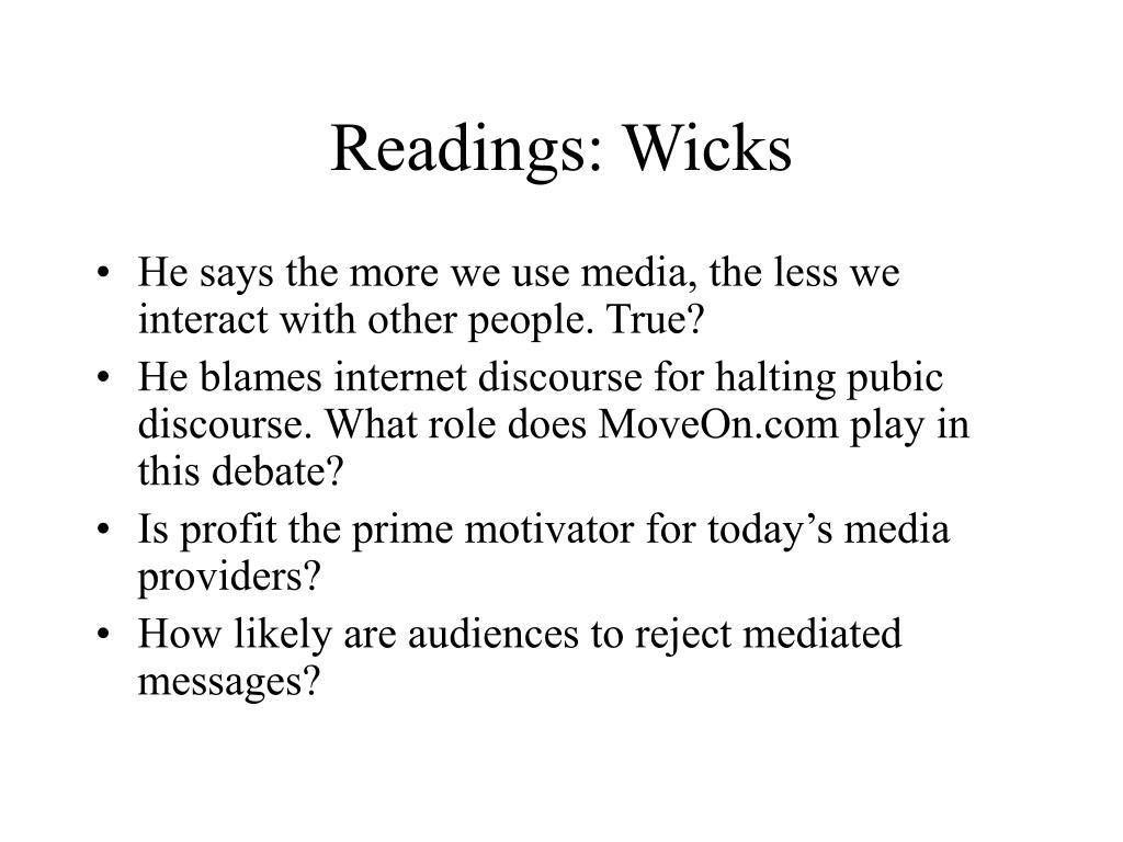 Readings: Wicks