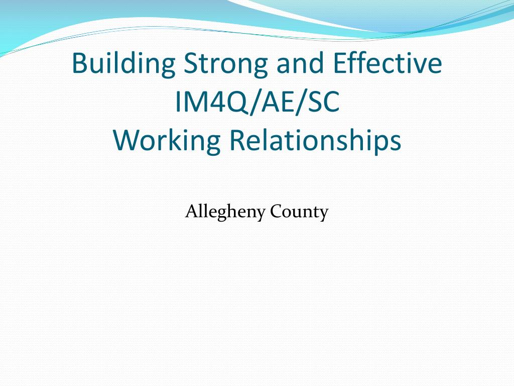 building strong and effective im4q ae sc working relationships l.